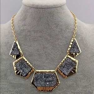 Metallic Druzy Rock Necklace